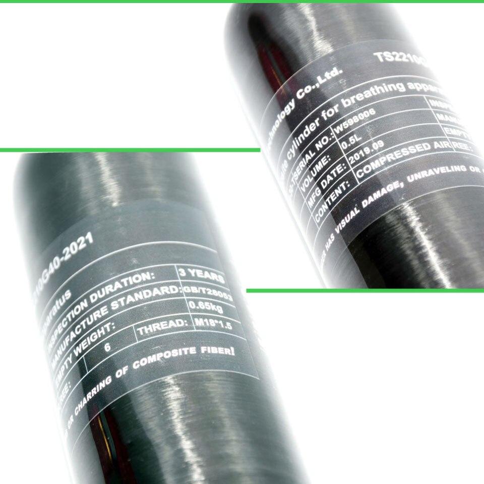 Pcp paintball tanque 0.5l fibra de carbono