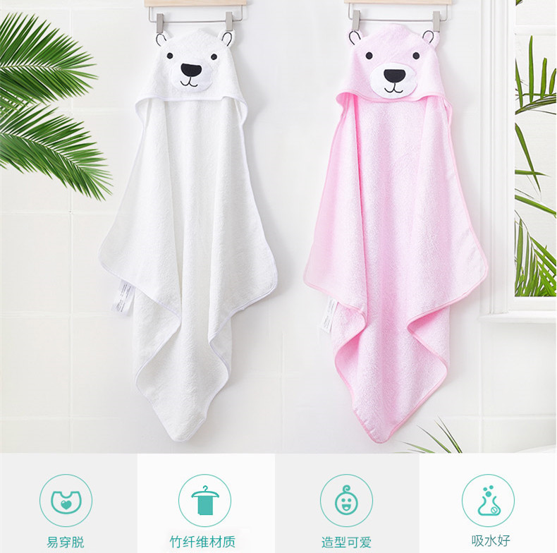 Bamboo Fabric Thick BABY'S Bath Towel Wrapping Blanket Children Hooded Bath Towel Baby BABY'S BLANKET Cloak Cartoon Embroidery