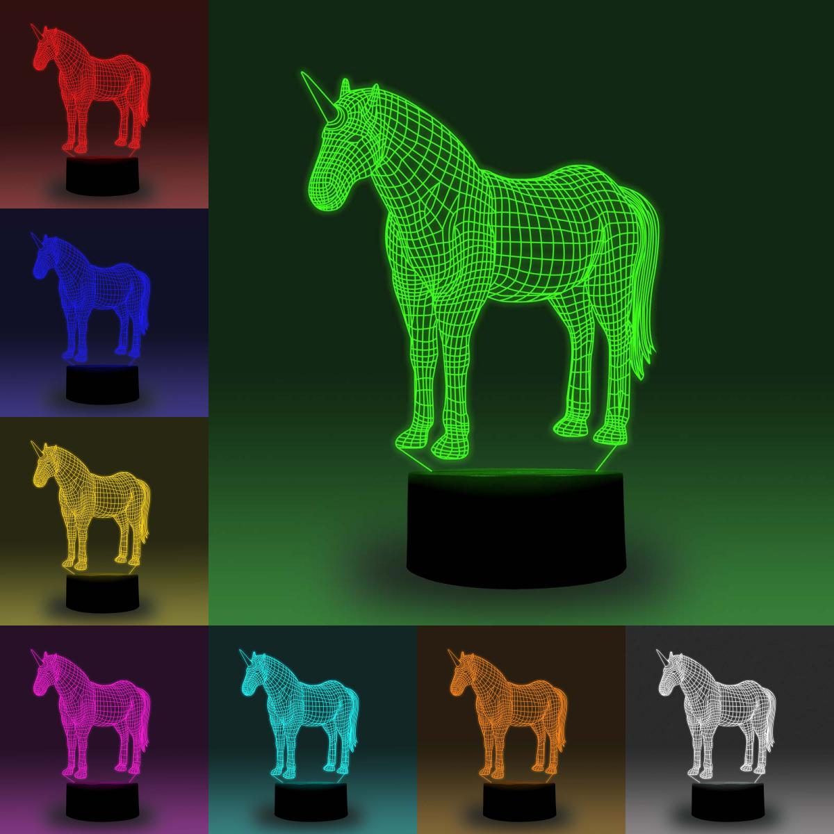 NiteApps 3D Clydesdale Unicorn Horse LED Night Light Desk Table Illusion Lamp Holiday Birthday Gift APP/Touch Control