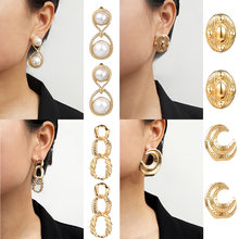 Women's jewelry fashion simple multi-element irregular personality meniscus round ladies earrings birthday Christmas gift(China)