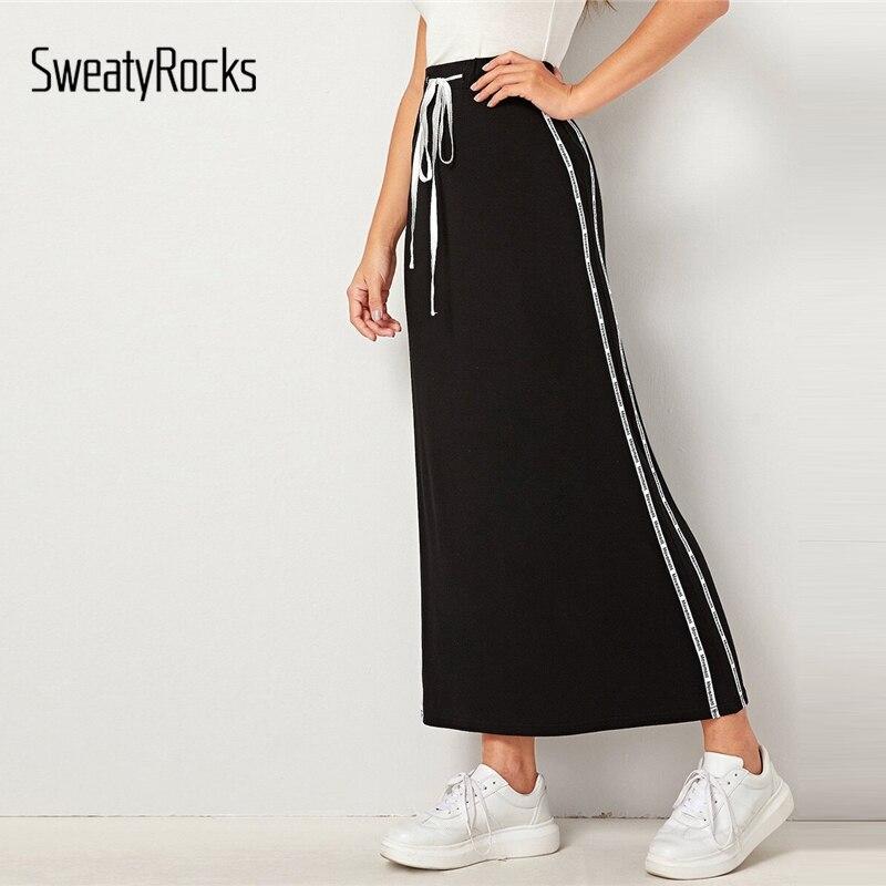 SweatyRocks Black Drawstring Waist Tape Side Pencil Skirt Active Wear Skinny Maxi Skirts 2019 Women High Waist Straight Skirts
