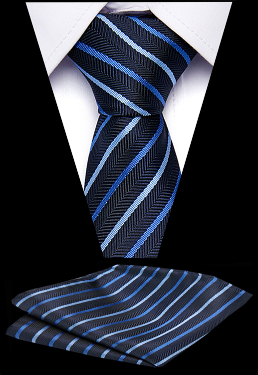 Luxury Men's Stripe Tie 7.5 Cm 100% Silk Polyester Handkerchief Ties Set Business Necktie Formal Dress Accessories Mens Ties