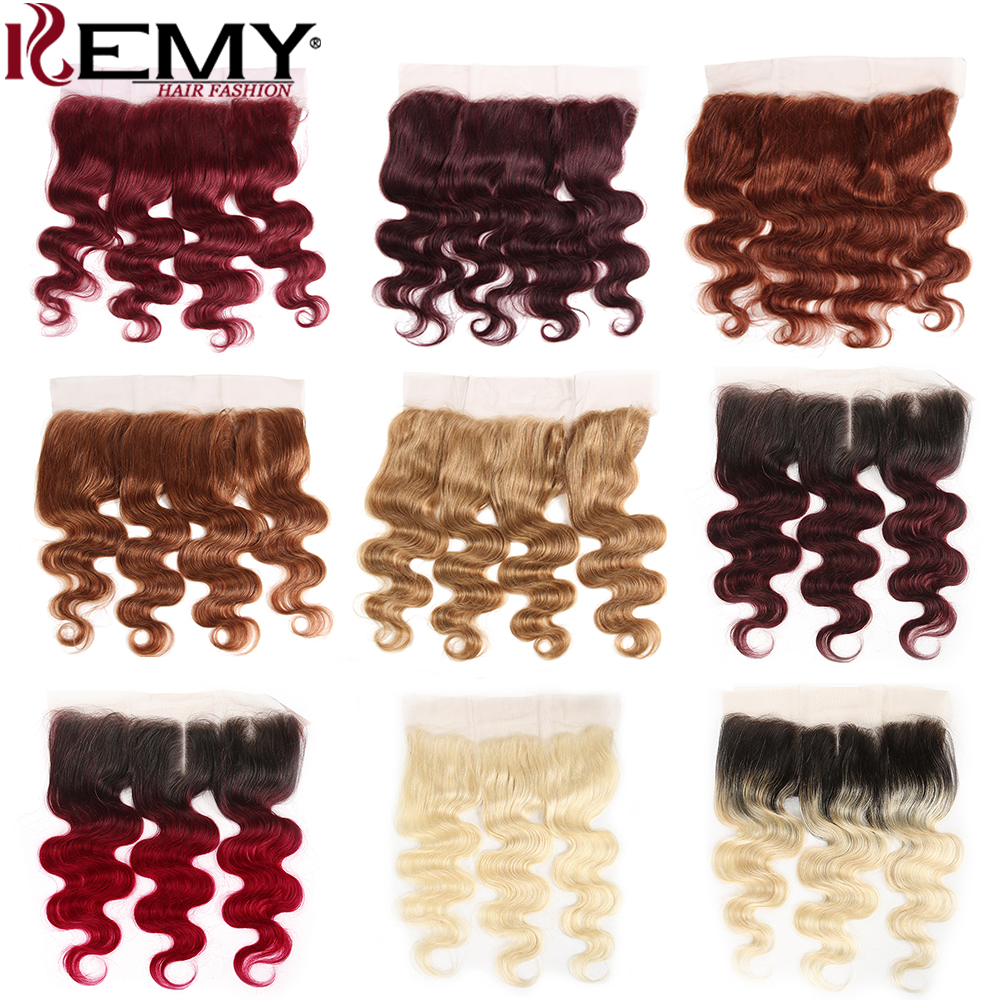 99J/Burgundy 13x4 Lace Frontal Closure Brazilian Body Wave Human Hair Lace Closure Middle/Free Part Swiss Lace Frontal Non-Remy