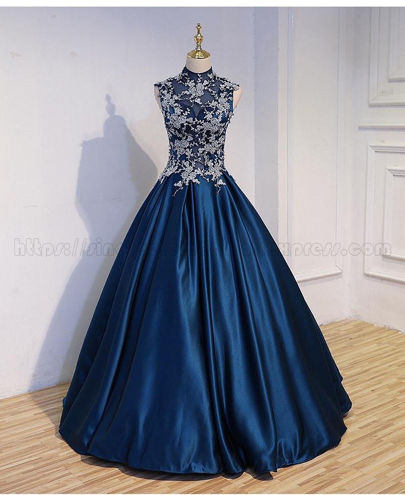 Wholesale Navy Soiree Dress Party Wedding A-line Applique Formal Women Long Prom Dresses