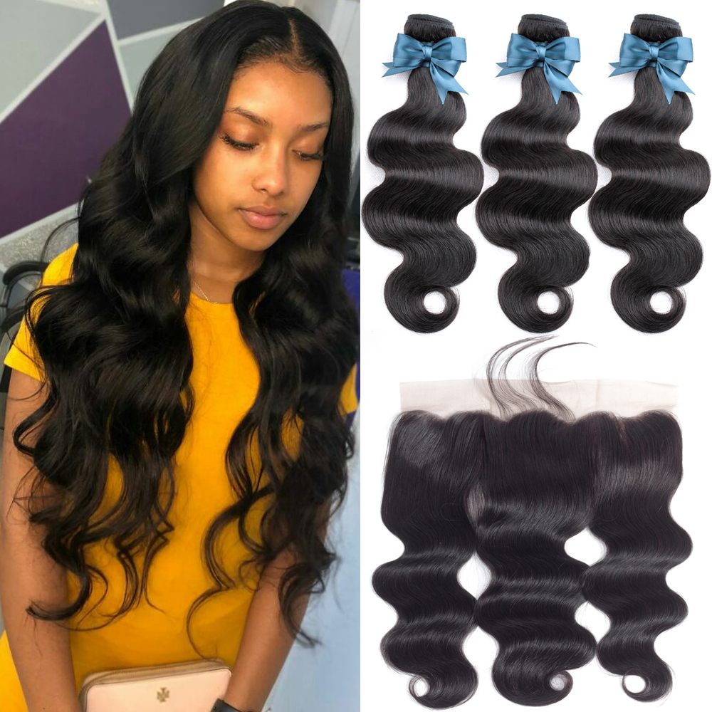 BEAUDIVA Human Hair 3 Bundles With Frontal Closure Peruvian Hair Body Wave 13x4 Ear To Ear Lace Frontal Closure With Bundles
