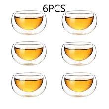 Высокое боросиликатное жаростойкое стекло маленькая Двойная Стенка чайная чашка оригинальность прозрачная двойная стенка Кунг Фу чайная чашка емкость 50 мл