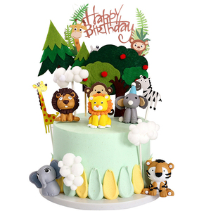 Lion Tiger Elephants Animal Cake Topper Zoo Jungle Safari Theme first 1st birthday Party Baby Shower Gender reveal decoration