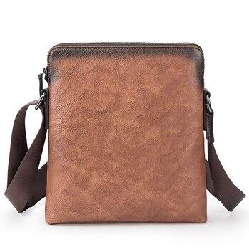 Leather Men's Messenger Bag Shoulder Crossbody Bag for Men Cow Leather Briefcase Vintage Flap Pocket Handbag Casual Tote