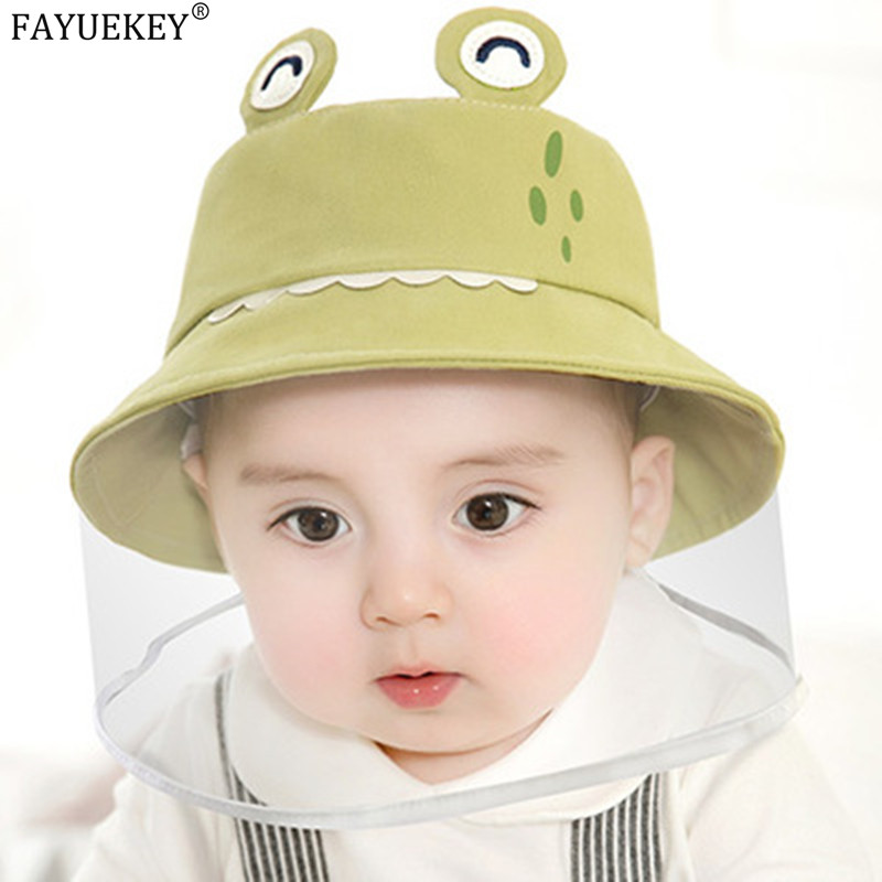 Baby Hat Infant Boy Girl Sun Hat Cotton Children Kids Bucket Cap Toddler Hat Eye Protection Mask Anti-saliva Face
