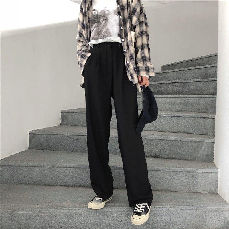 2019 Women Retro Leisure Long Trousers Korean Zipper Chic Pockets Daily Loose   Pants   Solid Simple   Wide     Leg     Pants