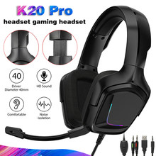 Pohiks 1pc K20 Pro Professional E-sport Gaming RGB Headphone Wired Adjustable Deep Bass Stereo Headset For XBOX One PS4(China)