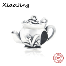 где купить Real 100% 925 sterling silver beads The Teapot Retro Flower Charms Beads Fit Authentic Pandora charms Bracelets Fashion Jewelry  дешево