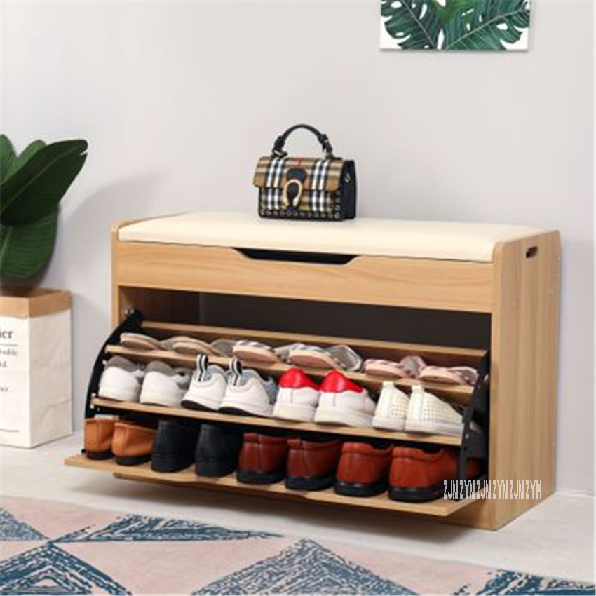 TF-02 High Density Board Wood Tipping Bucket Shoe Storage Cabinet Multifunctional Shoes Trying Stool Change Shoe Stool Shoe Rack