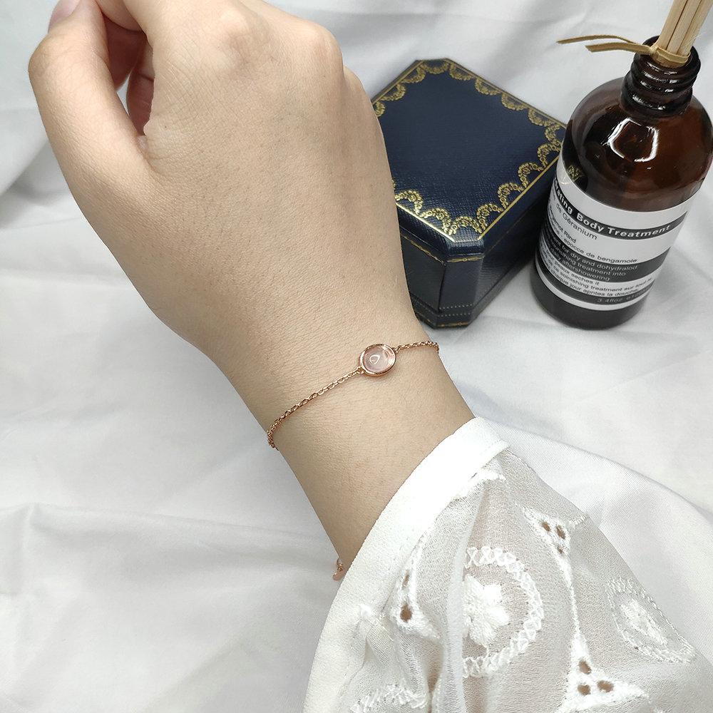 LAMOON Rose Quartz Gemstone Bracelets For Women Sterling Silver 925 Jewelry Rose Gold Plated Women's Bracelet Jewellery HI023