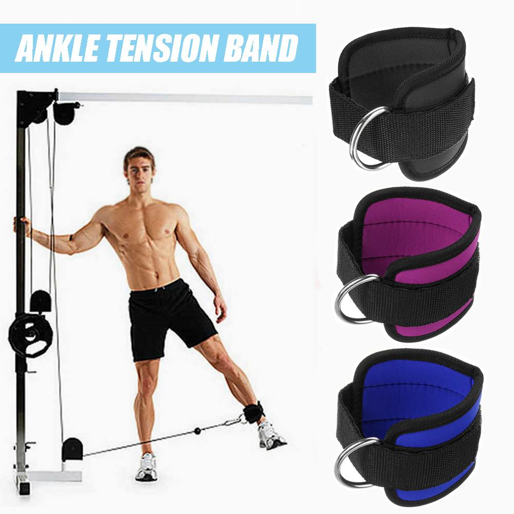 Red Ankle Strap Leg Gym Cable Attachment Pulley Machine Weight Lifting D Ring