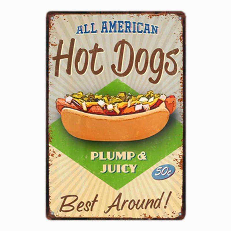 Perro caliente cartel carteles de hojalata vintage comida Europa restaurante decorativo rápido tienda de comida de Pub decoración de la pared 20x30cm