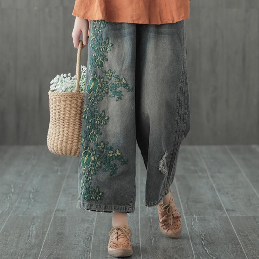 2019 Autumn New Straight Wide Leg Jeans Women Vintageelastic Waist Embroidered Loose Straight Jeans