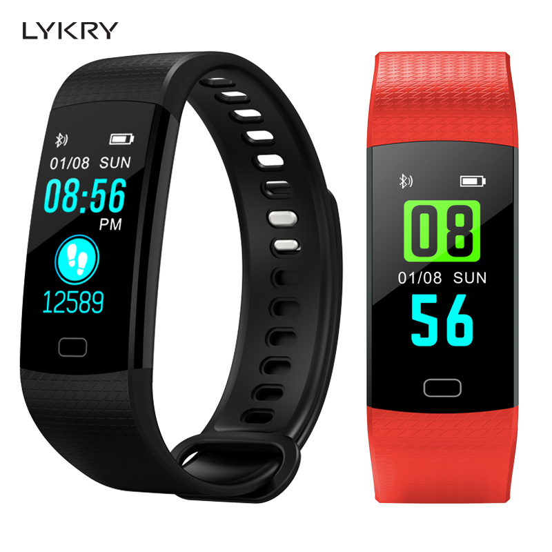 LYKRY Y5 Smart Watch Band Heart Rate Blood Pressure Monitor High Brightness Color Screen Smart Bracelet Watch android IOS
