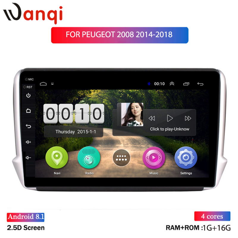 10INCH IPS 2.5D Android 8.1 Car GPS Multimedia For <font><b>Peugeot</b></font> 2008 <font><b>208</b></font> CAR DVD Player2014 2015 2016 2017 2018 with Radio Bluetooth image
