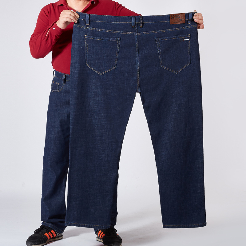 Main Push 9891 Winter High-waisted Plus Velvet Jeans Men's Large Size Loose Warm Plus-sized MEN'S Trousers 30-52