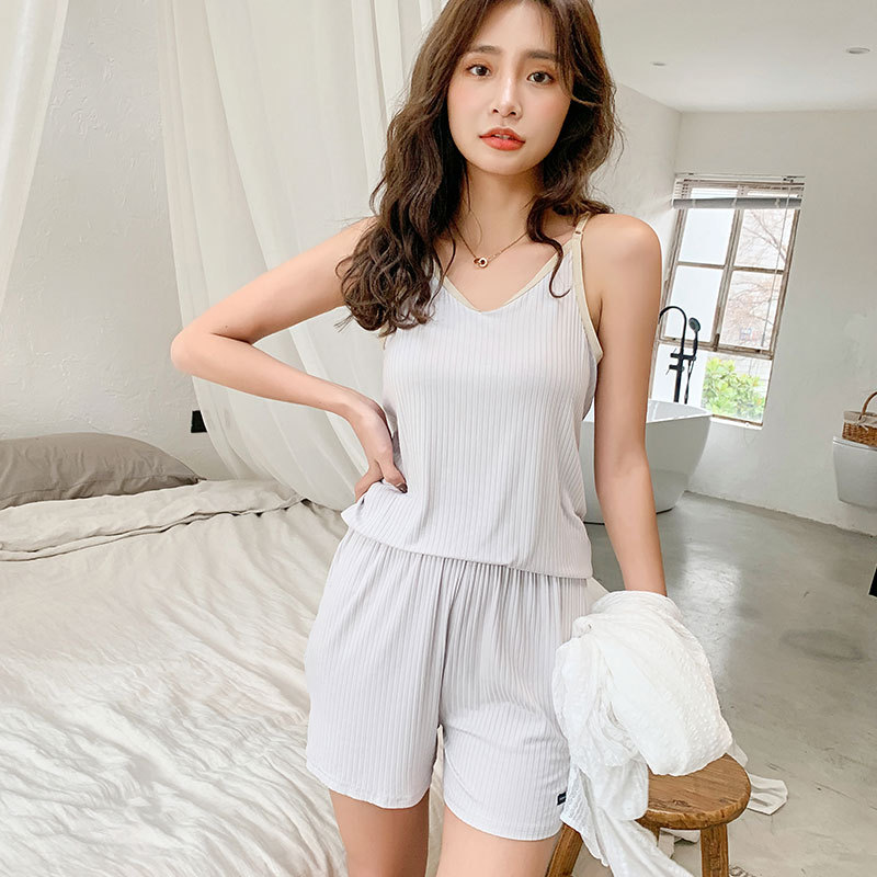 Mining 2020 Spring And Summer New Products Suspender Shorts Pajamas Two-Piece Set Lightweight Breathable Japanese-style Ladies H