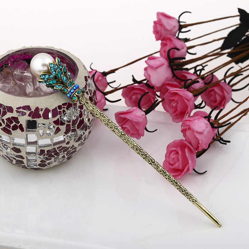 VINTAGE จำลองไข่มุกผม Sticks คลิปผมสำหรับเจ้าสาวคริสตัล Rhinestone Hairpin อุปกรณ์เสริมเครื่องประดับ