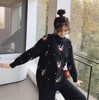 Sweater Women Loose Jumpers Red Autumn Korean Long Sleeve Christmas Fashion Beautiful Sweater Female O-Neck women Sweater 2