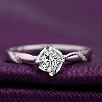 18K Gold Diamond  Platinum Engagement Ring  4