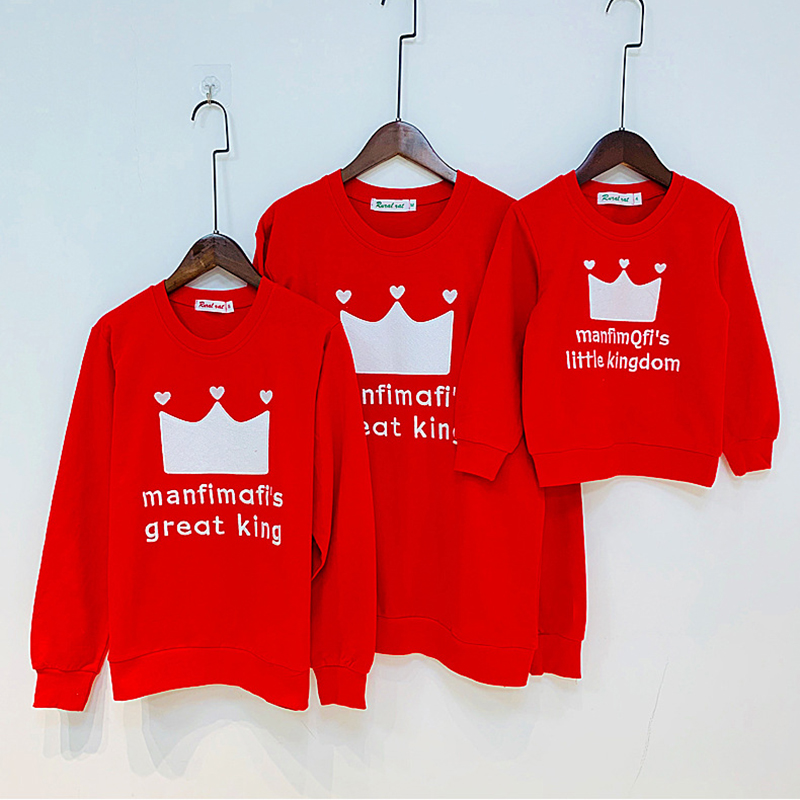 >Parent-child Cotton Clothes Autumn Tops Daddy Mommy Kids Red White <font><b>Champion</b></font> Sweatshirt <font><b>Outfits</b></font> Crown Adult Kids Family Tops