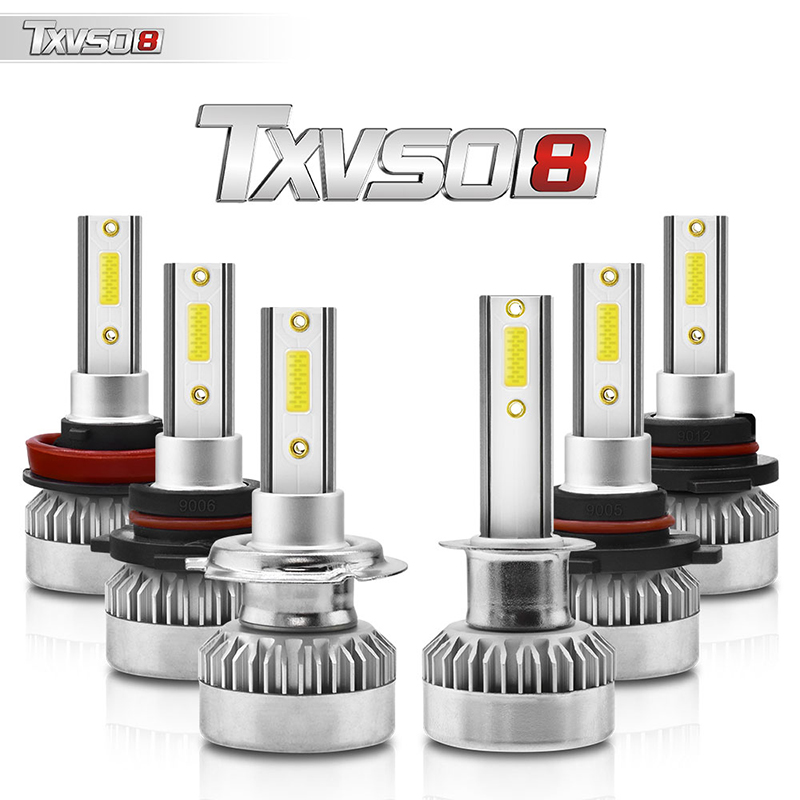 2PCS TXVS08 G1 H4-H/L Car Headlamp LED Bulb Conversion Kit  H1 H4 H7  HB3 HB4 H8 H9 H11 110W  6000K White 9V-32V COB LED