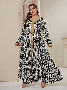 2021 Abaya Long Spring Womens Ladies Dresses Large Plus Size Fashion Elegant Stitching Ramadan Maxi Dress 1