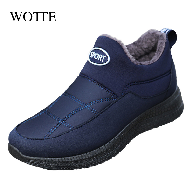 WOTTE Mens Boots Winter Keep Warm Snow Boots Fashion Plush Cotton Shoes Man Boots Driving Moccasins Quality Men Loafers Cotton