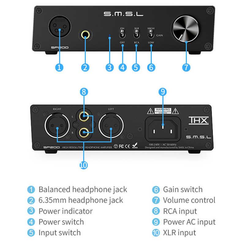 SMSL SP200 технология плеера Усилитель для наушников Hifi музыка сбалансированные наушники домашний усилитель выход AC100V-240V