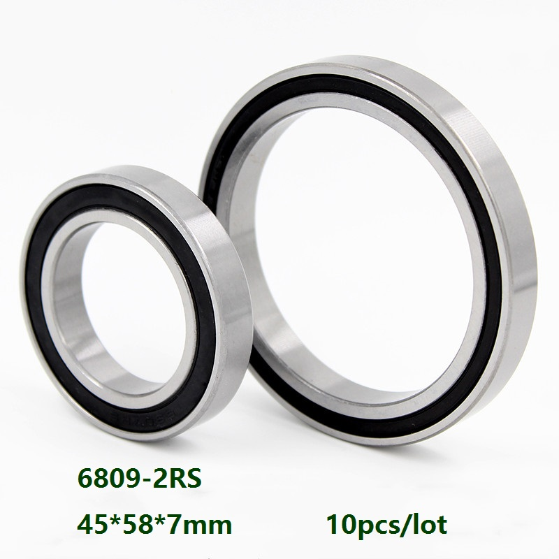 10pcs 6809-2RS 6809RS 6809 2RS 45x58x7mm Rubber Sealed Deep Groove Ball Bearing