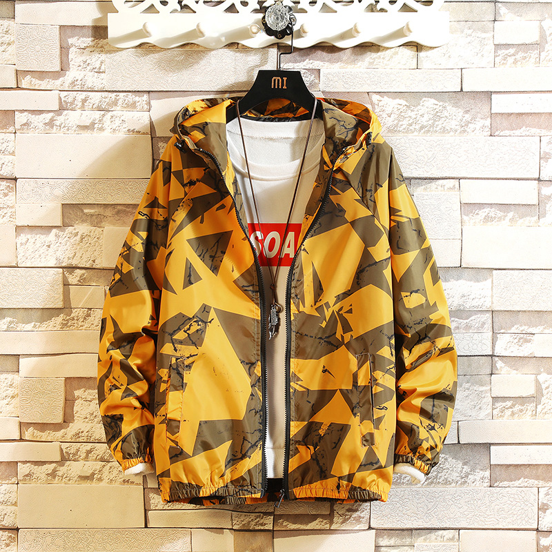 Jacket Men Windbreaker 2020 Spring Autumn Fashion Printing  Jacket Men's Hooded Casual Jackets Male Coat Thin Men Coat Outwear