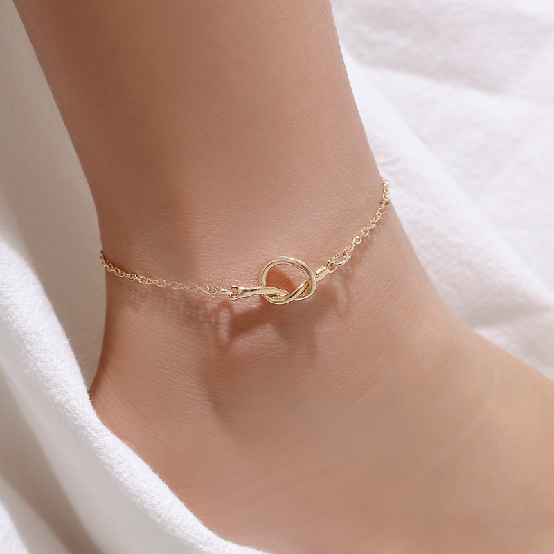 Women Anklet Creative Tie A Knot Anklets Ladies Round Jewellery Couples Hand Made Fashion Trendy Silver Color Alloy Pulseras