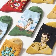 Criativo pintura a óleo meias maré marca com o mesmo parágrafo senhoras meias personalidade comércio exterior meias de algodão atacado
