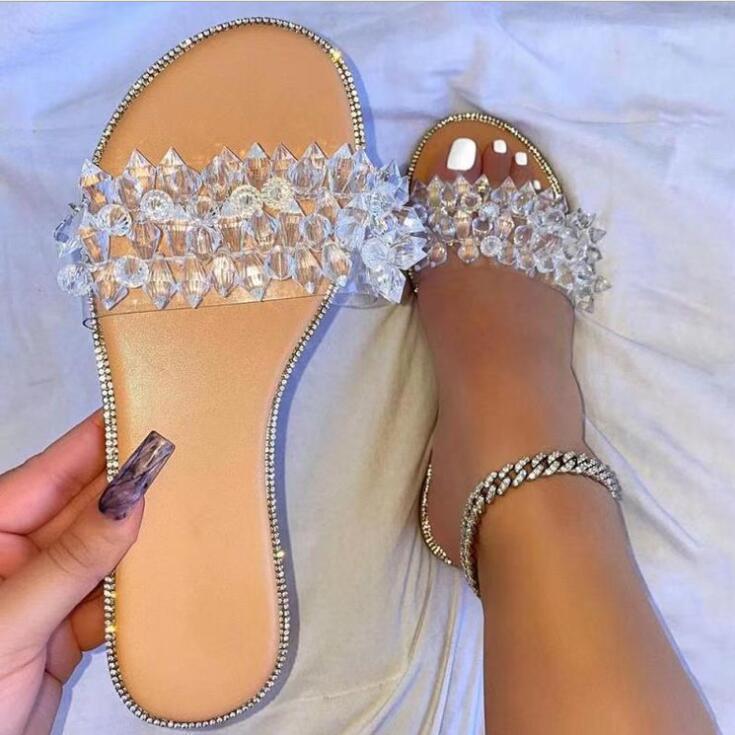 Женские прозрачные сандалии стразы с круглым носком, пляжные босоножки на плоской подошве, универсальные Повседневные тапочки, лето 2021
