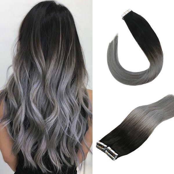 Fita adesiva de vesunny em extensões do cabelo preto 100% cabelo humano real 20 pces t1b/bluegrey ombre marrom 50gr