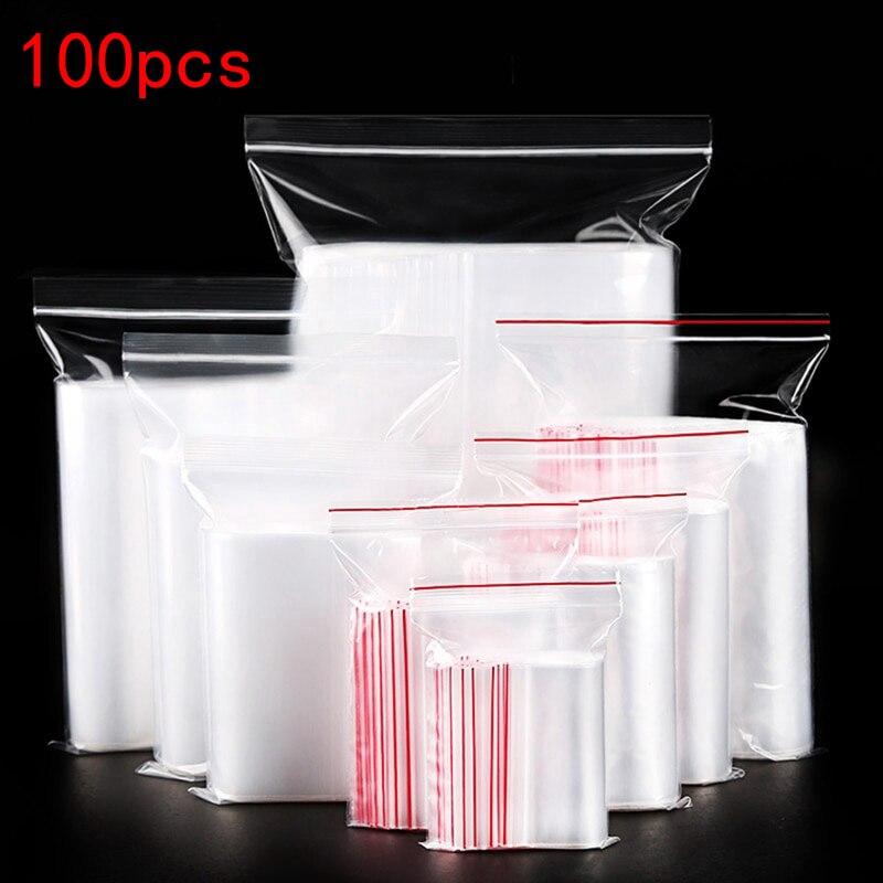 100 шт. Пластик замка застежка-молнии Ziplock мешок сумка для хранения прозрачный Пластик упаковка мешки застежки-молнии запечатывания ювелирны...