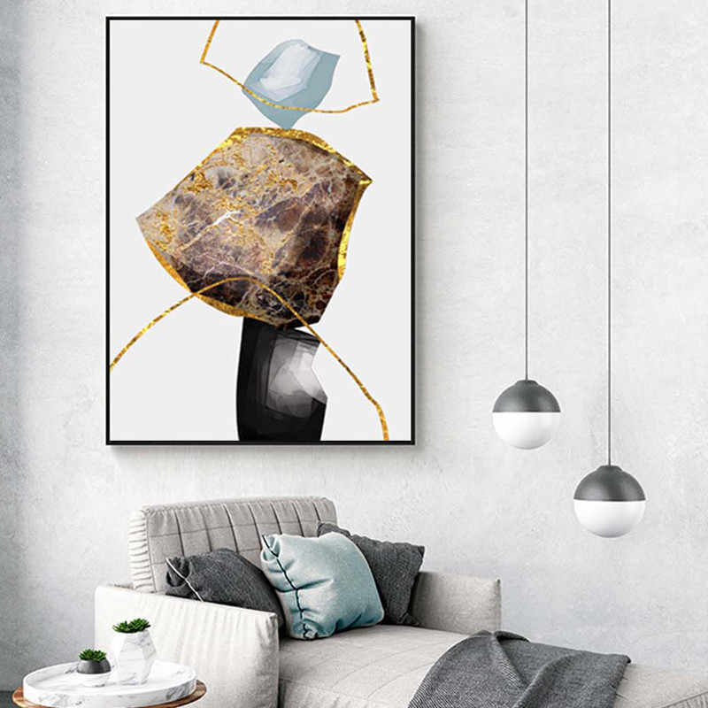 抽象的なカラフルな石のキャンバス絵画ファッションポスター印刷奇妙な壁のリビングルーム Cuadros ホーム Nodic 装飾