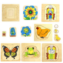Новые деревянные детские monessori головоломки развивающие игрушки