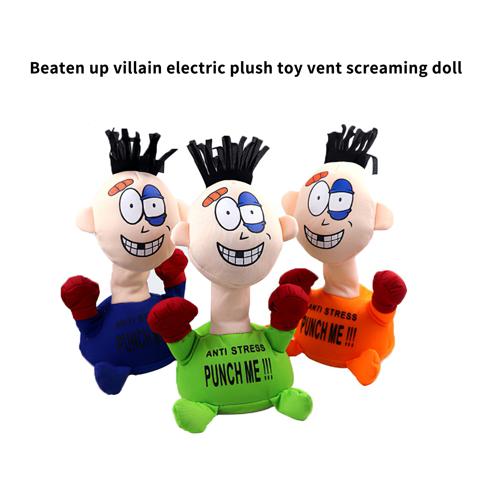 Children Boxing Toys Punch Me Electric Plush Toys Fun Vent Screaming Doll With Simulation Sound Anti-Stress Stuffed Figure Doll