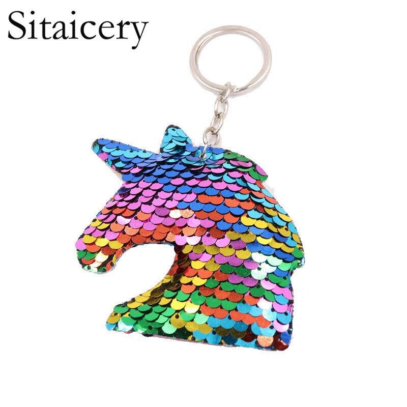 Sitaicery Unicorn Keychain Reflective Pompom Sequins Drive Safe Key Chain Boyfriend Gift Cute Keychains For Men Llaveros Brelok