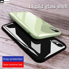 Candy Colors Glass Phone Case For iPhone XS MAX XR X Luxury Mirror Glossy Silicone Solid Color Cover 7 8 Plus