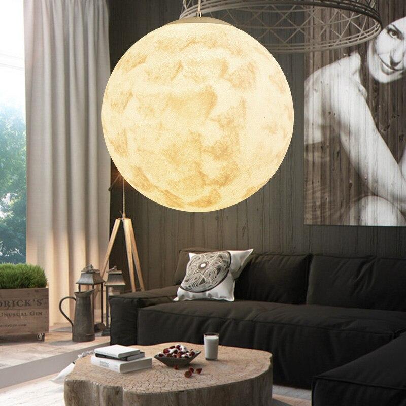 3D Print Ceiling Pendant Lamp Moon Night Light For Livingroom ,Round Haning Lights E27 Socket , Suspended Edsion Bulb Light