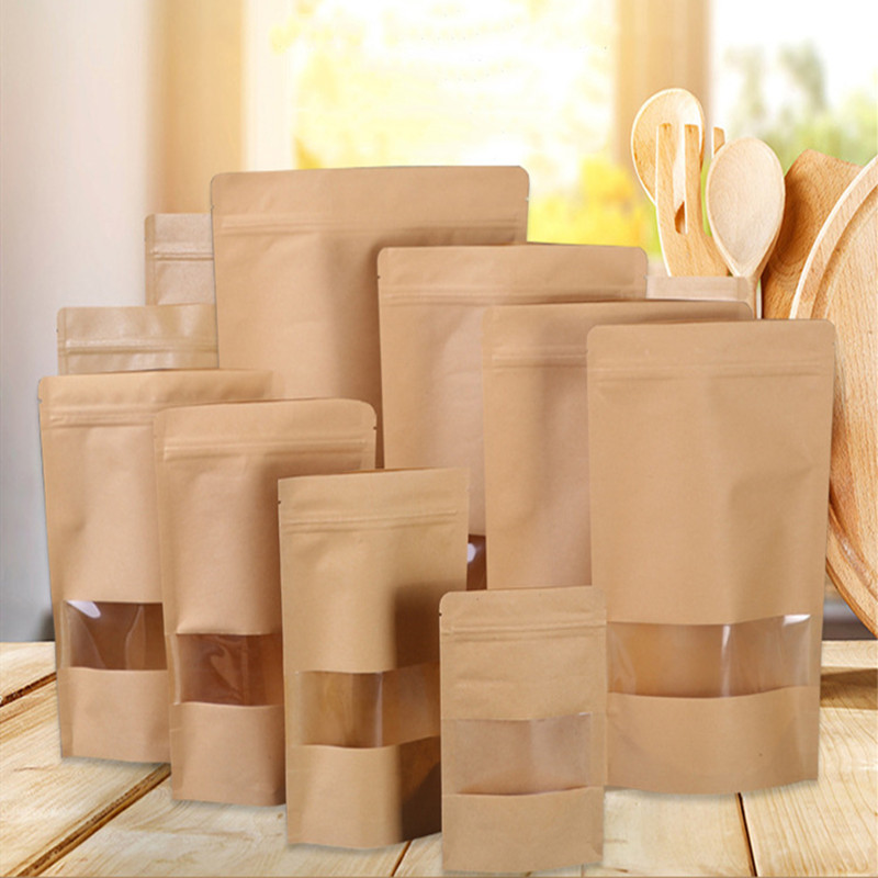 5pcs Brown Kraft Paper Gift Candy Bags Wedding Packaging Bag Recyclable Food Bread Party Shopping Bags For Boutique Zip Lock