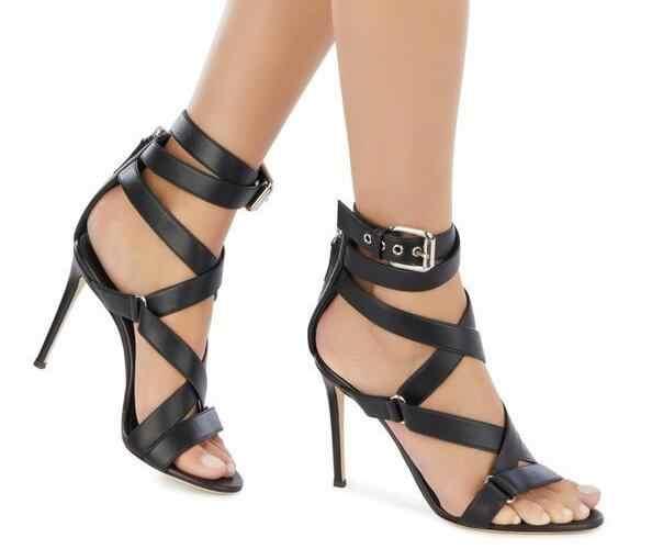 Dipsloot leopar siyah yaz çapraz dantel Up Metal tokaları sandalet kadın seksi fermuar geri Stiletto topuk roma sandalet ayakkabı