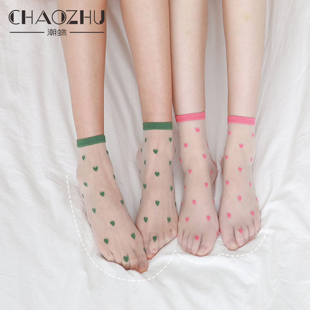 CHAOZHU Love Small Icon Kawaii Japanese Korea Fashion Sweet Hearts Sheer Transparent Socks Women Girls Summer Spring Street Shot