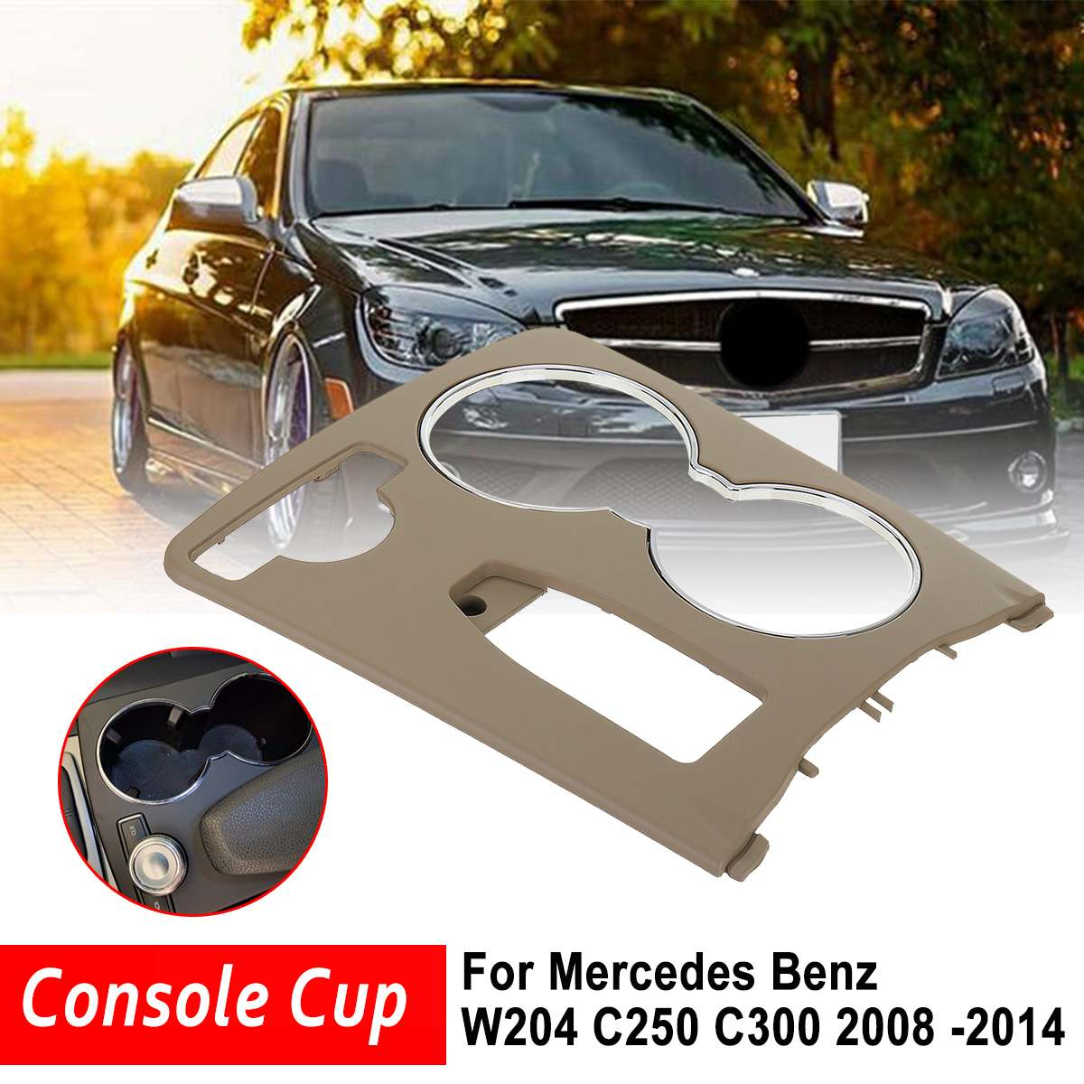 Genuine Center Console Cup Holder Trim Beige Cover For <font><b>Mercedes</b></font> For Benz GLK-Class W204 C250 <font><b>C300</b></font> C350 C63 2008 -2014 LHD Only image